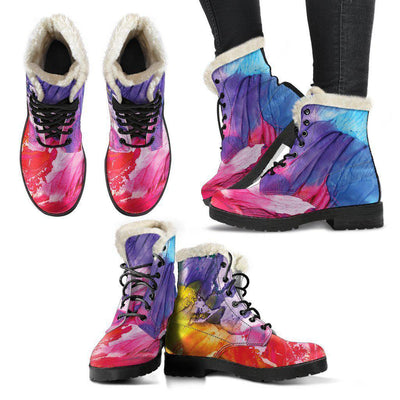 Abstract Oil Paintings P2 - Faux Fur Leather Boots - Unique Gifts Custom T-Shirt Shop Blankets Apparel