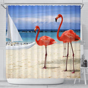 Beach and Flamingos Shower Curtain - Create Your Own Custom Apparel T-Shirts Home Decor Lifestyle The Harry Potter Store