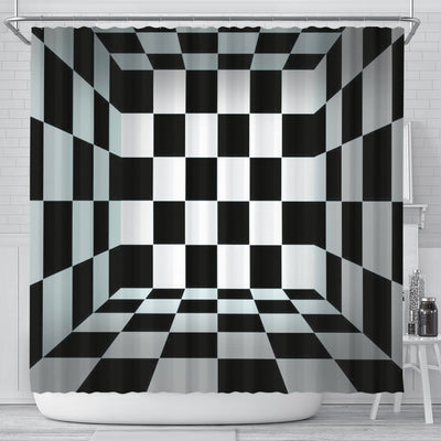 Black and White squares Shower Curtain - Create Your Own Custom Apparel T-Shirts Home Decor Lifestyle The Harry Potter Store
