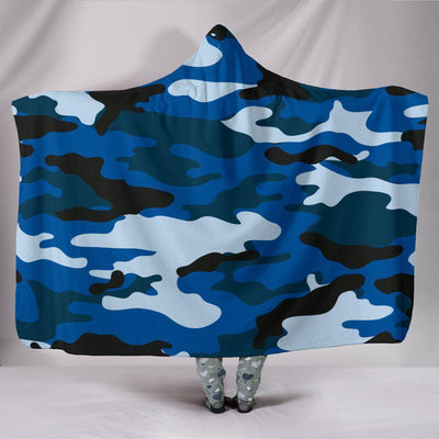 Blue Camouflage Hooded Blanket - Create Your Own Custom Apparel T-Shirts Home Decor Lifestyle The Harry Potter Store