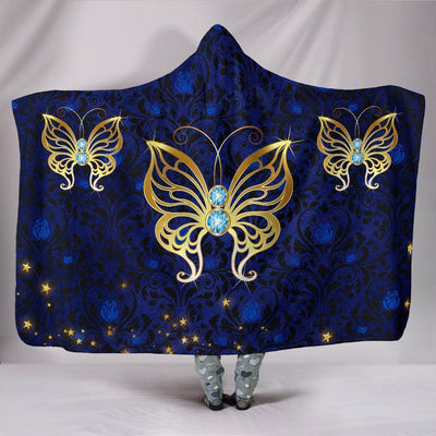 Blue Rose Damask Butterfly Hooded Blanket - Create Your Own Custom Apparel T-Shirts Home Decor Lifestyle The Harry Potter Store