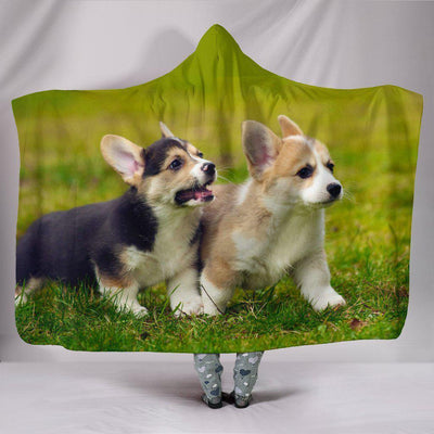 Corgi Puppy Plush Lined Hooded Blanket - Create Your Own Custom Apparel T-Shirts Home Decor Lifestyle The Harry Potter Store
