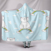 Customised Hoodie Blanket Blue Kitten on a Rainbow - Create Your Own Custom Apparel T-Shirts Home Decor Lifestyle The Harry Potter Store