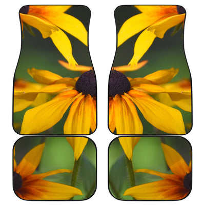 Front and Back Car Floor Mats - Yellow Daisies Design
