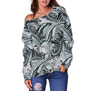 Funky Patterns in Black - Women's Off Shoulder Sweater - Create Your Own Custom Apparel T-Shirts Home Decor Lifestyle The Harry Potter Store