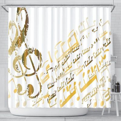Golden Music Notes Shower Curtain - Create Your Own Custom Apparel T-Shirts Home Decor Lifestyle The Harry Potter Store
