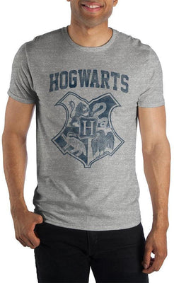 Harry Potter Hogwarts Crest Four Houses Gryffindor Slytherin Hufflepuff Ravenclaw Men's Gray T-Shirt - Create Your Own Custom Apparel T-Shirts Home Decor Lifestyle The Harry Potter Store