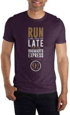 Harry Potter Run Like You're Late For The Hogwarts Express Platform 9 3/4 Women's Burgundy T-Shirt - Create Your Own Custom Apparel T-Shirts Home Decor Lifestyle The Harry Potter Store