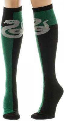 Harry Potter Slytherin Green/Black Juniors Knee High Socks - Create Your Own Custom Apparel T-Shirts Home Decor Lifestyle The Harry Potter Store
