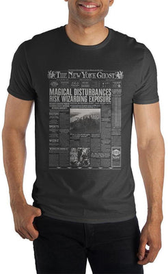 Harry Potter The New York Ghost Wizarding Newspaper Men's Black T-Shirt - Create Your Own Custom Apparel T-Shirts Home Decor Lifestyle The Harry Potter Store