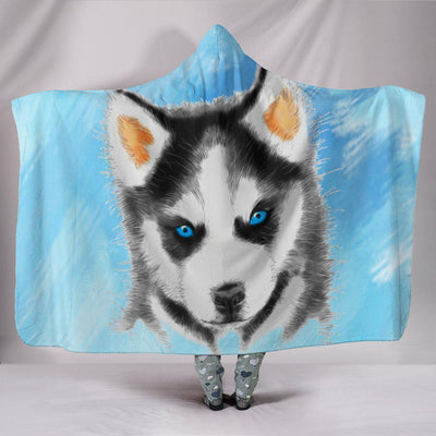 Husky Puppy Plush Hooded Blanket - Create Your Own Custom Apparel T-Shirts Home Decor Lifestyle The Harry Potter Store