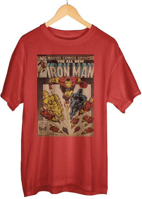 Iron Man - Men's Bright Red Graphic Vintage Boxed Cotton T-Shirt - Create Your Own Custom Apparel T-Shirts Home Decor Lifestyle The Harry Potter Store