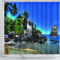 Island and ship Shower Curtain - Create Your Own Custom Apparel T-Shirts Home Decor Lifestyle The Harry Potter Store