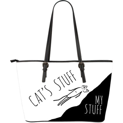 Leather Tote - Cat's Stuff | My Stuff - White - Create Your Own Custom Apparel T-Shirts Home Decor Lifestyle The Harry Potter Store