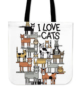 Love Cats Cloth Tote Bag - Create Your Own Custom Apparel T-Shirts Home Decor Lifestyle The Harry Potter Store