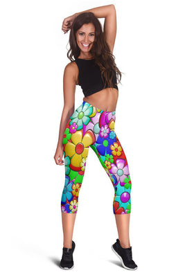 Retro Flower Power - Women's Capris - Create Your Own Custom Apparel T-Shirts Home Decor Lifestyle The Harry Potter Store