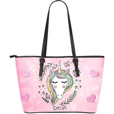 Unicorn Dreaming Leather Large Tote Shoulder Bag - Create Your Own Custom Apparel T-Shirts Home Decor Lifestyle The Harry Potter Store