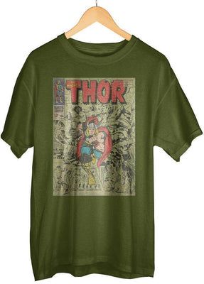 Vintage Thor Marvel Comic Book Cover Artwork Men's Grey Graphic Cotton T-Shirt - Create Your Own Custom Apparel T-Shirts Home Decor Lifestyle The Harry Potter Store