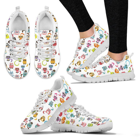 White Cats Women's Sneakers-Cats And Dogs-Unique Gifts And Apparel - Shop Your Gift Emporium