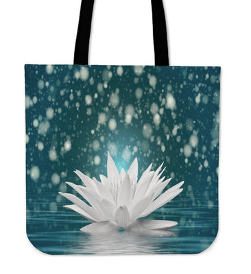 White Lotus Flower Tote Bag - Create Your Own Custom Apparel T-Shirts Home Decor Lifestyle The Harry Potter Store