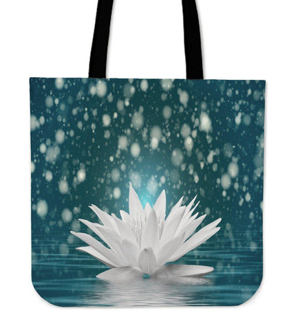 White Lotus Flower Tote Bag-Tote Bag-Unique Gifts And Apparel - Shop Your Gift Emporium