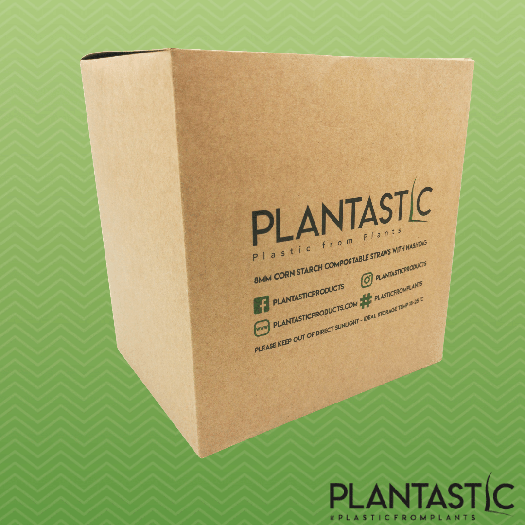 Box of 500 8mm  Biodegradable and Compostable Straws with Hashtag