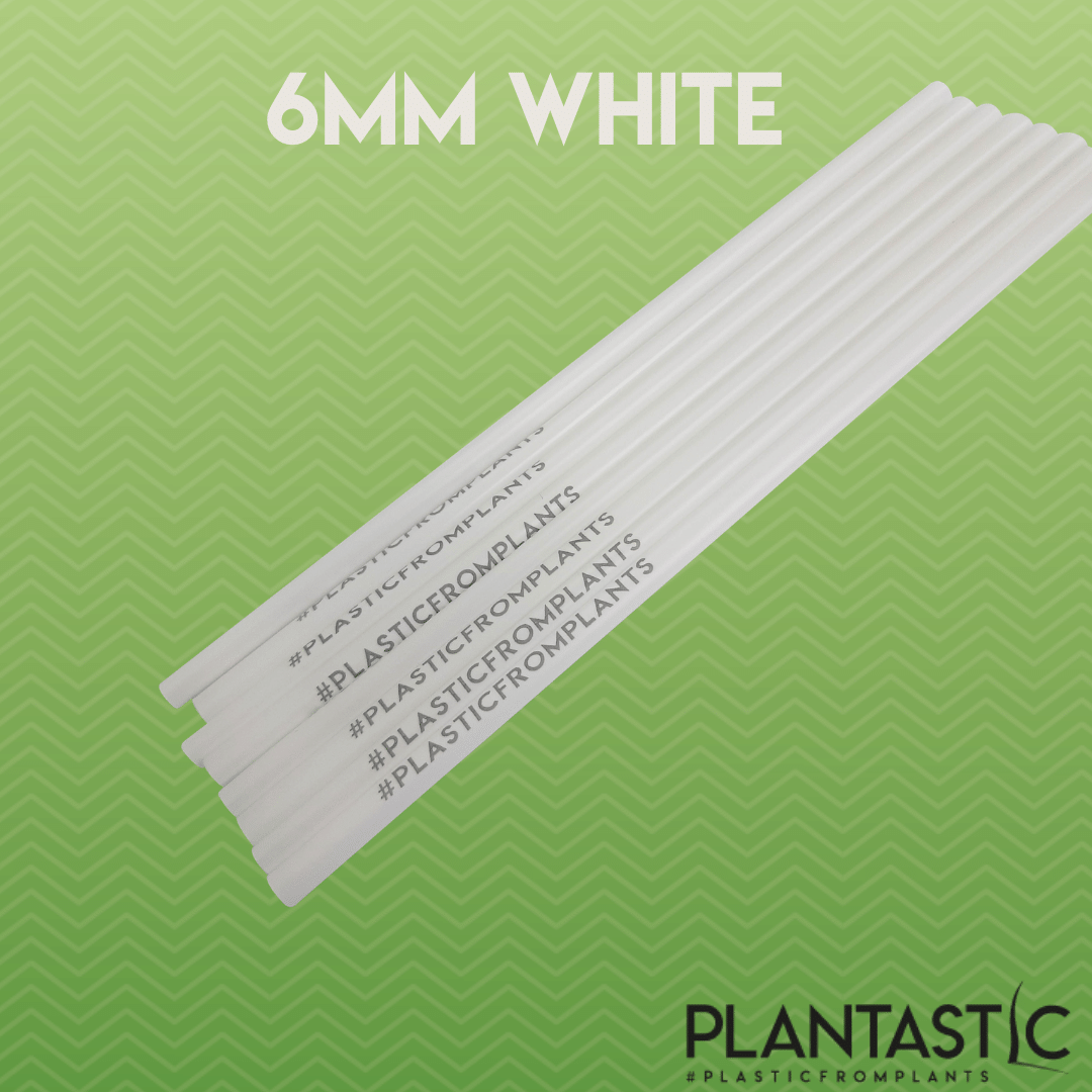 Box of 500 6mm Biodegradable and Compostable Straws with Hashtag (White)