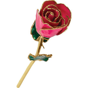LAQUER DIPPED 24K GOLD TRIMMED FUCHSIA ROSE