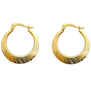 14KT YELLOW GOLD RADIAL HOOP EARRINGS