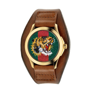 LE MARCHE DE MERVEILLES LEATHER CUFF TIGER