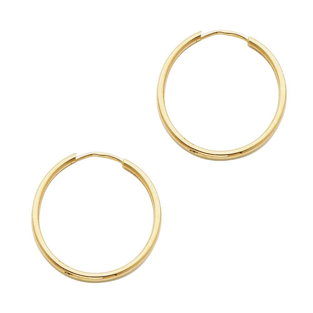 14KT YELLOW GOLD 1.5MM HOOP EARRINGS 20mm