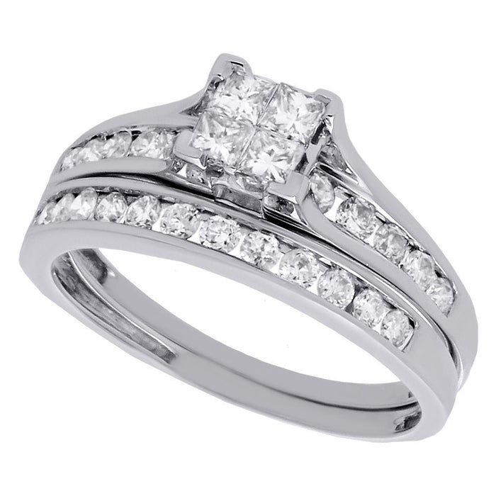 PRINCESSA BRIDAL SET WITH CHANNEL SET BAND: ONE CARAT - XSJewelers