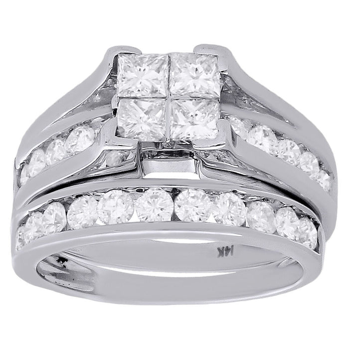 PRINCESSA BRIDAL SET WITH CHANNEL SET BAND: TWO CARATS - XSJewelers