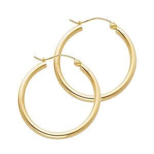 14KT GOLD 2MM HOOP SNAP-BACK EARRINGS 25mm