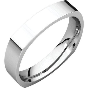 SQUARE MEN'S SILVER WEDDING RING