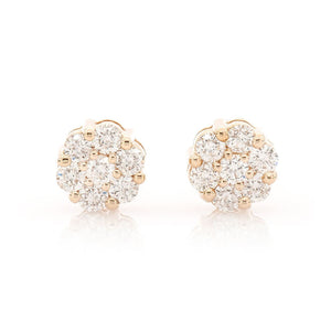 DIAMOND FLOWER STUDS ON YELLOW GOLD, THREE-QUARTER CARAT