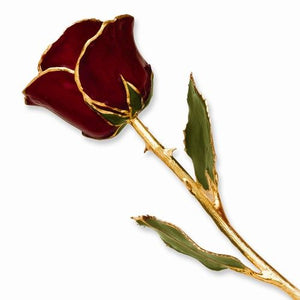 LAQUER DIPPED 24K GOLD TRIMMED BURGANDY ROSE