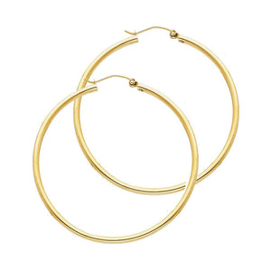 14KT GOLD 2MM HOOP SNAP-BACK EARRINGS 35mm
