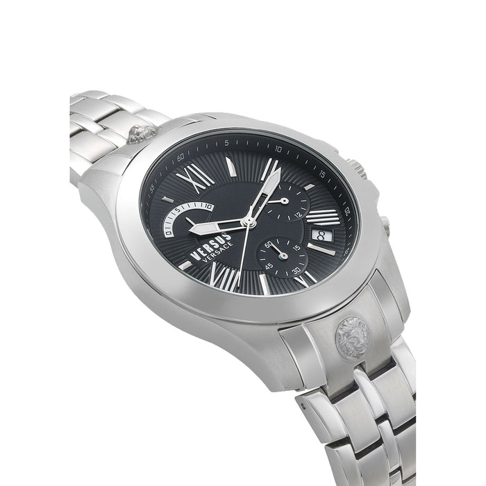 BLACK DIAL SILVER CHRONO LION WATCH