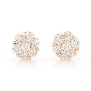 DIAMOND FLOWER STUDS ON YELLOW GOLD, ONE CARAT