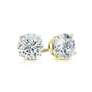 DIAMOND STUDS ON YELLOW GOLD, THREE-QUARTER CARAT