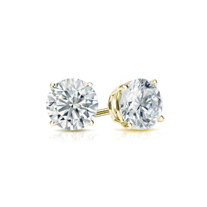 DIAMOND STUDS ON YELLOW GOLD, THIRD CARAT