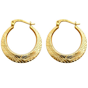 14KT YELLOW GOLD GEOMETRIC HOOP EARRINGS