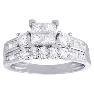 PRINCESSA BRIDAL SET WITH ROUND AND BAGUETTE BAND: ONE CARAT - XSJewelers