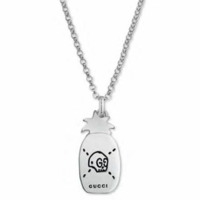 007301571 GUCCI GHOST SILVER PINEAPPLE NECKLACE - XSJewelers