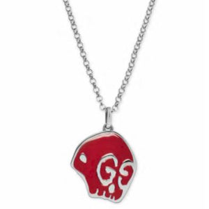 GUCCI GHOST RED SKULL SILVER NECKLACE