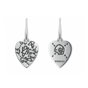 GUCCI GHOST SILVER HEART EARRINGS