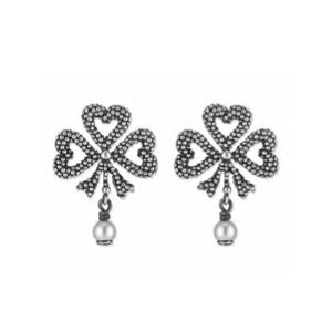 GUCCI SILVER CLOVER GLASS PEARL EARRINGS