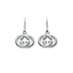 GUCCI SILVER GG DANGLE EARRINGS