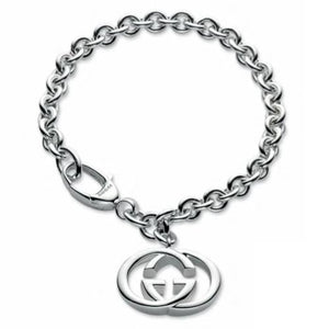 GUCCI SILVER INTERLOCKING POLISHED BRACELET